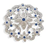 Floral Sapphire Blue Swarovski Crystal Pin Brooch Plated with Fine Silver
