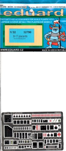 EDU32790 1:32 Eduard Color PE - B-17 Flying Fortress Placards (for use with the HK Models kit) MODEL KIT ACCESSORY