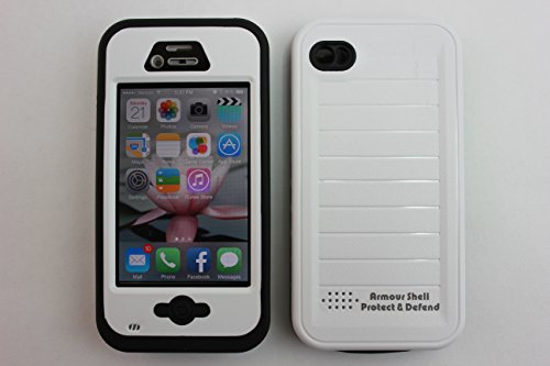 Iphone 4 & 4S Waterproof Cell Phone Protective Case, Armour Shell Protective Covers & Accessories Offers Alternative To Lifeproof Defender & Otterbox Cases, For Apple At&T, Verizon, Virgin & Sprint Phones. Buy Now To Receive Free Usb Iphone 3' Cable! (Whi