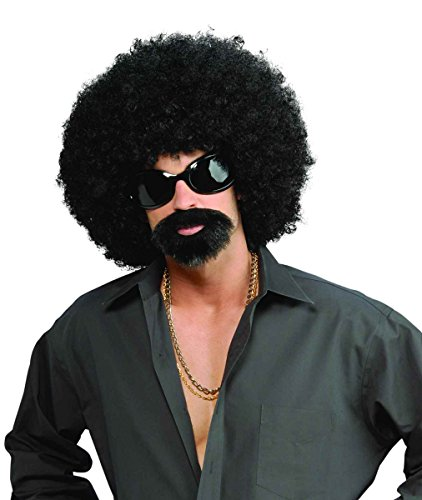 70s Mens Funny Halloween Costume Afro Fro Wig Moustache