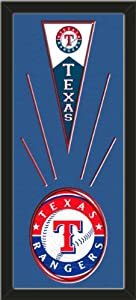 Texas Rangers Wool Felt Mini Pennant & Texas Rangers Team logo Photo - Framed... by Art and More, Davenport, IA