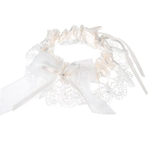 Topwedding Satin and Lace Wedding Garter with Organza Bowknot, Ivory, One Size