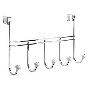 InterDesign York Wall Mount Storage, 5 Hook Rack, Chrome