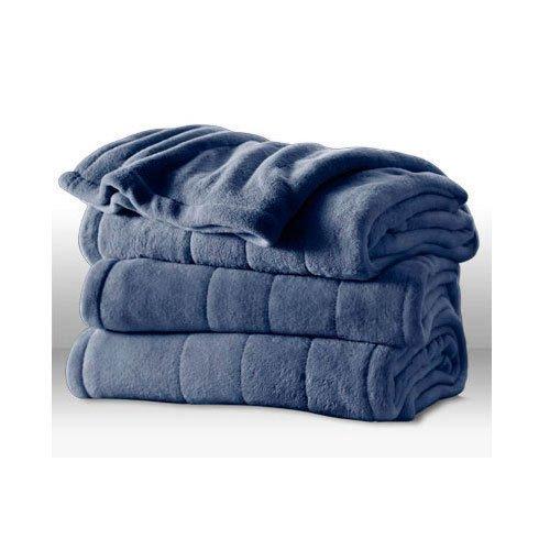 Sunbeam Channeled Microplush Heated Electric Blanket King Azure Blue