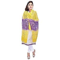 Soundarya Yellow Purple Bandhej Cotton Hand Work Dupatta