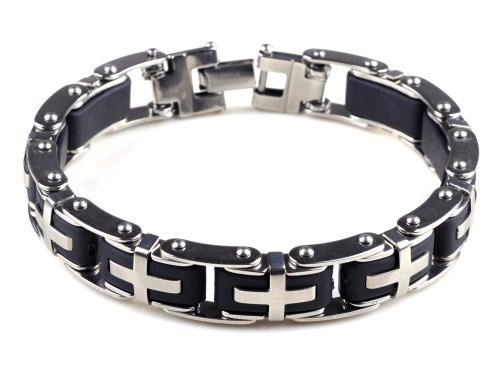 8.5&quot; Mens Stainless Steel Bracelet Cross Black Rubber Chain Link Wrist Band Wristband Fashion Jewellery