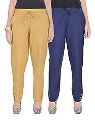Kalrav Solid Brown and Indigo Blue Cotton Pant Combo