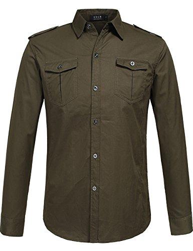 Sslr Men'S Cotton Casual Long Sleeve Military Shirt Color Green Size Medium