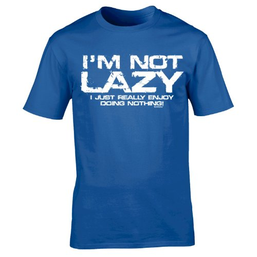 123t Mens I'M NOT LAZY - I JUST ENJOY DOING NOTHING ! - Loose Fit T-shirt (Distressed Style Print)