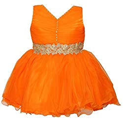ChipChop Orange Embellished Net Dresses for Girls
