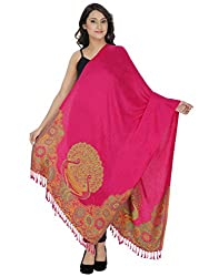 Indo Essence (Women's_ Designer Patch Embroidered Pink Stole)