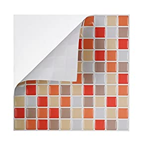 Tic tac tile high quality peel and stick wall tile in for Orange peel and stick wallpaper