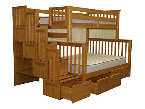Bedz King Stairway Bunk Bed with 2 Under Bed Drawers, Twin Over Full, Honey