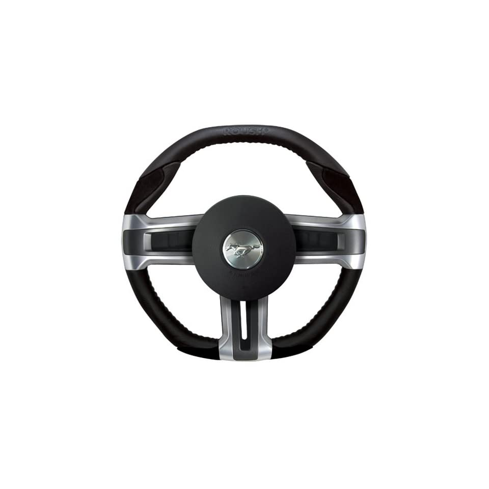 Roush Embossed Black Leather Steering Wheel w/ Suede Inserts