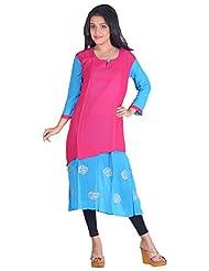 Aastha Creation Women's Georgette Straight Kurta (Pink, XL)
