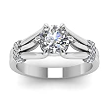 buy Triple Layered Split Shank Engagement Ring Pave Set 0.70 Ct Round Cut Diamond Gia