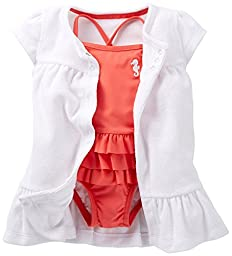 Carter\'s Little Girls Sweet Apricot Swimsuit Cover-up Set (Newborn, Coral)