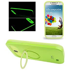 i-Glow 2-color Series (Plastic + Silicone) Smooth Surface Fluorescent Effect Combination Case with Holder for Samsung Galaxy S4 i9500 (Fluorescence Green)