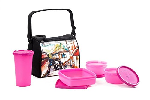 Signoraware Malgudi Plastic Lunch Box Set, 4 Pieces, Pink