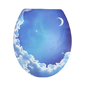 Decorative blue sky moon pattern removable sticker decal - Decorative toilet seat covers ...
