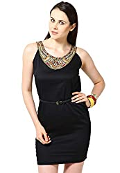OVIYA Black Cotton Satin Dress