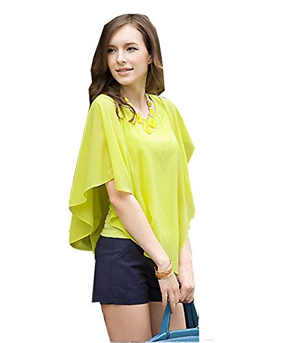 Cooped dresses Women's Asymmetric OL Career Casual Batwing Sleeve Chiffon Shirt GreenLarge (Party City Canada Careers)