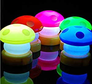 2x LED Mini Mushroom Night Light Lamp Mixed Color from GNG
