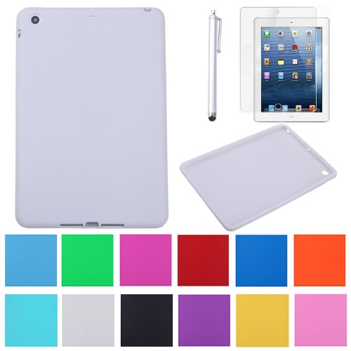 Hde Candy Color Silicone Soft Skin Case Cover For Ipad Mini / Mini 2 / Mini 3 / Retina With Screen Protector And Matching Stylus (White)