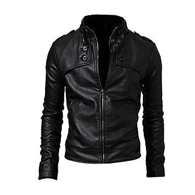 SODIAL(R) Vetement de l'Homme Mince Fit Col Montant Motorcycle Synthetique Cuir Veste Manteaux Noir M