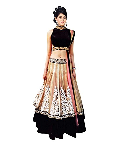 Sky Global Women\'s Embroidered Georgette Black & Beige Lehenga Choli (Lehnga_129_Free Size_Black&Beige)