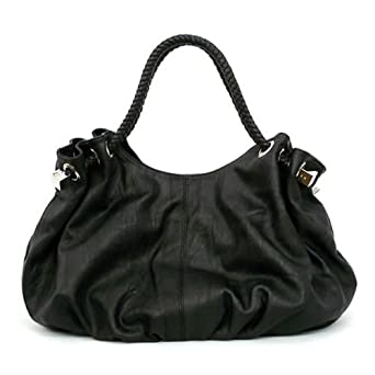 Oversized Satchel/Handbag with Braided handles - Black