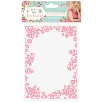 Sara Signature Collection Sara Signature Vintage Tea Party Botanical Border Embossing Folder, 0.7 x 14 x 2.4 cm, Clear (Color: Clear, Tamaño: 0.7 x 14 x 2.4 cm)