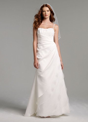 Top Davids Bridal Side Drape Gown With Beaded Bodice Style SAS1212 White 14