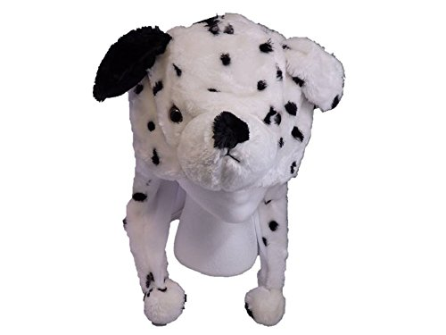 Dog Dalmation Plush Hat - Fits Kids and Adults - With Long Plush Pom Pom Ties (Dalmation Halloween Costumes Kids)