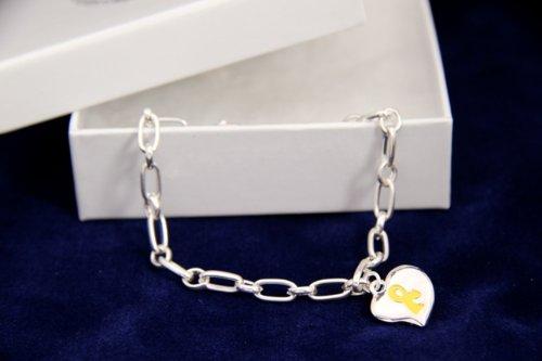 Yellow Ribbon Bracelet-Silver Linked w/ Puffed Heart (18 Bracelets)