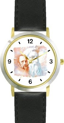 Watchbuddy Michelangelo With Statue Of Moses In Background - Watchbuddy Deluxe Two-tone Theme Watch - Arabic Numbers - Black Leather Strap-size-large