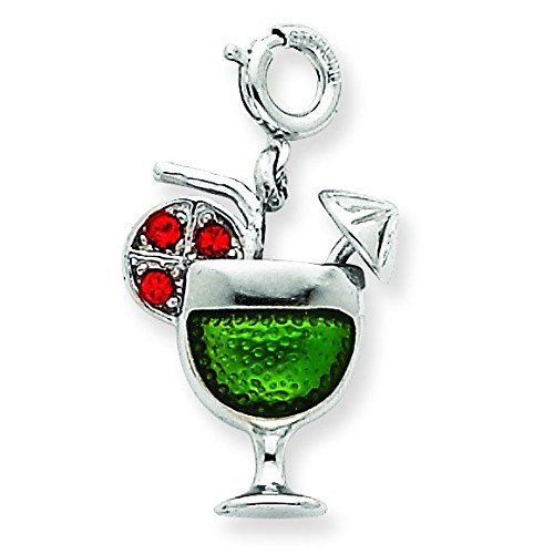 Sterling Silver Enameled Martini Glass Charm