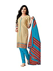 Taos Brand cotton dress materials for women womens dress materials cotton salwar suit New Arrival latest 2016 womens party wear Unstitched dress materials for women (217 summer__cream and sky blue_freesize
