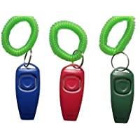 BAFX Products (TM) Pack of THREE / 2 in 1 - Dog training clicker & whistle - W/ Key ring & Wrist strap