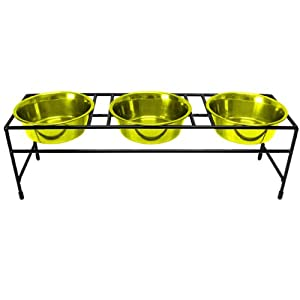 Platinum Pets Triple Modern Diner Stand with 3 Heavy 1-Pint Dishes, Corona Lime