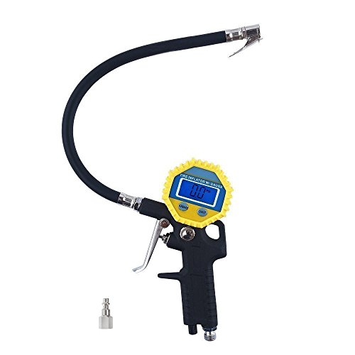KULAIPU Electric Digital Tire Inflator Gauge with Flexible Rubber Hose, 3-in-1 Inflation Gun, Lock-On Air Chuck and Pressure Gauge, Range from 0-150 PSI (Lock Release Air Valve compare prices)