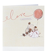 Bear & Bird Balloon Birthday Card