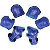 TOOGOO(R) Children Skating Knee Elbow Wrist Protective Guard Pad Set Solid Blue