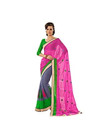 MemSahiba Women Printed and Embroidered Georgette Saree Multi Coloured available at Amazon for Rs.1950