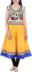 BleuIndus Women's Cotton Kurta (KRT-309_XL, Yellow, XL)