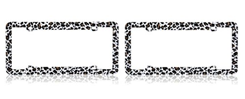 Cheetah High Quality Plastic License Plate Frame x 2 (one pair) (License Plate Frame Cheetah Print compare prices)