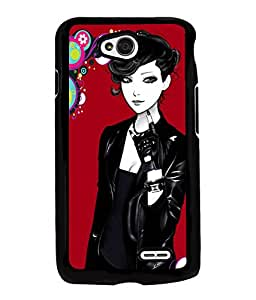 Fuson Rocking Girl Back Case Cover for LG L70 - D4032