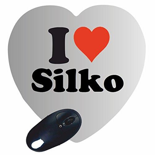 """ESCLUSIVO: Cuore Tappetino Mouse/ Mousepad """"I Love Silko"""" , una grande idea regalo per il vostro partner, colleghi e molti altri! - regalo di Pasqua, Pasqua, mouse, poggiapolsi, antiscivolo, gamer gioco, Pad, Windows, Mac, iOS, Linux, computer, laptop, notebook, PC, ufficio , tablet, Made in Germany."""