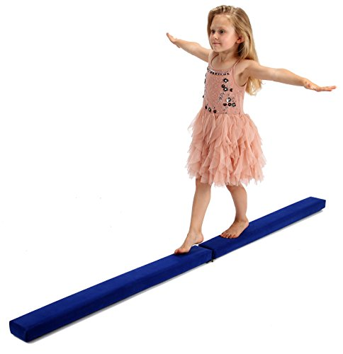 Powerfly Gymnastics Balance Beam for Home and Kids - Folding & Low Profile Gymnastics Equipment - Blue - 8 Feet