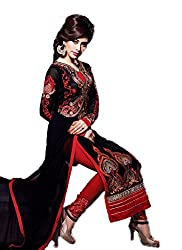 A G Lifestyle Black Georgette Straight Fit Semi Stitched Salwar Suit CLS17002